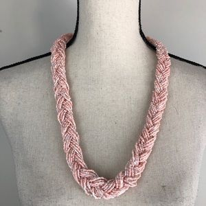 Millennial Pink Braided Bead Necklace